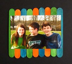 colored popsicle stick picture frame