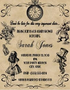 Alice in Wonderland Baby Shower or Birthday Party Invitations Personalized for sale online Alice In Wonderland Invitations, Alice In Wonderland Tea Party, Birthday Party Invitations, Baby Shower Invitations, Birthday Parties, 9th Birthday, Birthday Ideas, Office Baby Showers, Baby Shower Tea