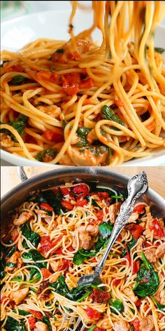 Gesunde Rezepte - Quick and Easy Healthy Dinner Recipes - Tomato Spinach Chicken Spaghetti - Aweso. Healthy Dinner Recipes, Vegetarian Recipes, Cooking Recipes, Easy Recipes, Cooking Videos, Easy Noodle Recipes, Recipes With Basil, Cooked Spinach Recipes, Pasta Recipes For Dinner