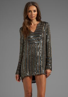 Digital Sequins Long Sleeve Dress in Gold