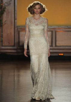Claire Pettibone Fall 2016 Pearle long sleeve, lace gown with pearls, ivory and rose gold embroidery