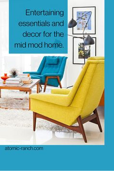 Liven up your space with these Mid Century Modern entertaining essentials—decor, furniture and dining ware. See more and atomic-ranch.com Mid Century Modern Living Room, Mid Century Modern Decor, Funky Decor, Vintage Decor, Atomic Ranch, Dining Ware, Modern Dining Chairs, Googie, Sofa Design