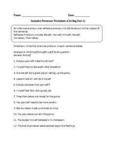 Worksheets Reflexive And Intensive Pronouns Worksheet pronoun worksheets and on pinterest intensive pronouns worksheet circling part 1 intermediate
