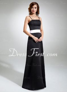 A-Line/Princess Strapless Floor-Length Satin Bridesmaid Dress With Sash (007001477)