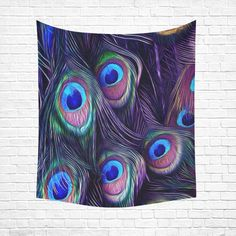"Peacock Cotton Linen Wall Tapestry 51""x 60"""