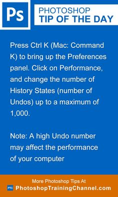 Go to Edit > Preferences > Performance to change the number of History States (number of Undos) up to a maximum of 1000. Remember that this may affect the performance of your computer.