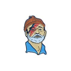 """❤ Bill Murray as Steve Zissou as David Bowie as Aladdin Sane.  Inspired by the Bowie-centric soundtrack to The Life Aquatic.  1.5"""" tall, complete with rubber clutch."""