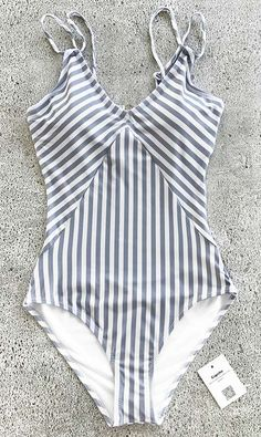 Beach travel so easy just like go swimming in pools~ The only inevitable necessity you lack is a vintage stripe-printed one-piece beach wear like this. Timeless & Comfy~ Free shipping & Check it out.