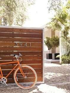Fence Ideas Modern cedar fence and Neutra house numbers.Modern cedar fence and Neutra house numbers.