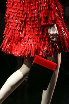 Armani Prive couture-2014/15 leather detail. red