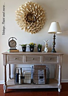 Love this gray washed entry table