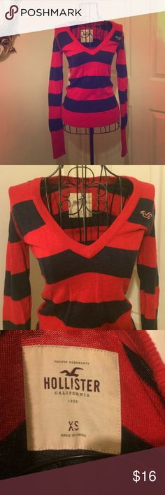 Red and Navy Hollister Sweater Red and navy striped sweater from Hollister. Size XS. Cotton/Viscose blend. Hollister Sweaters V-Necks