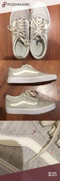 cc5cb14972 Shop Women s Vans Gray size 9 Sneakers at a discounted price at Poshmark.  Description  Light gray vans with tiny dash of colors Worn several times  but in ...