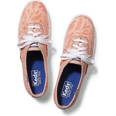 Keds CHAMPION LEAVES & BIRDS (52 CAD) ❤ liked on Polyvore featuring shoes, sneakers, peach nectar, keds shoes, keds, peach shoes, keds sneakers and keds footwear