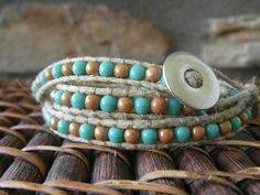Hemp Wrap Bracelet / Turquoise / Light Brown by JuliesBeadStory, $35.00