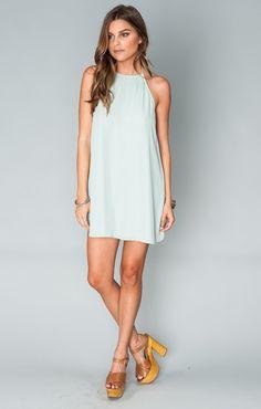 Katy Halter Dress ~ Sea Mist Crisp
