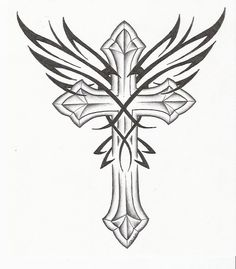 Pin+Gothic+Cross+Tattoo+Drawing+And+Wings+Picture+To+Pinterest