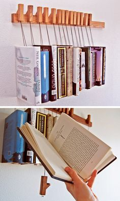 Custom wooden pegs bookrack. Great statement piece for a modern office.