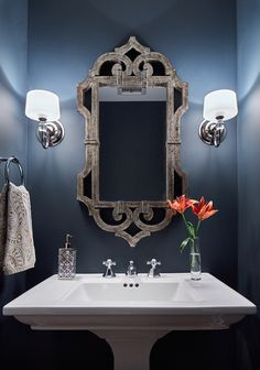 powder room makeover | pedastal sink, beautiful mirrors and powder
