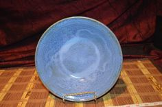 """Hand made Pottery Stoneware Bowl Blue with brown 9""""x2 1/2"""" Signed"""