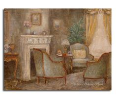 "Downton Abbey Interior "" The Dowager Countess of Grantham 'house - The drawing room "" - Original oil painting Helen Flont"