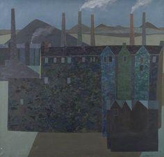 Helen Pollock - Dark Industrial Landscape, 1971