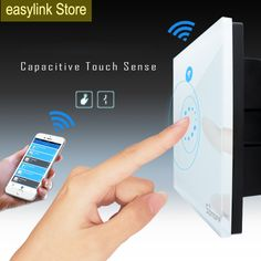 Itead Sonoff Wifi luxury Wall Touch Switch Wireless Remote Control EU US Glass Panel Timing light Switches smart Home Automation