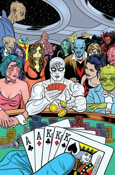 """Silver Surfer By Dan Slott and Mike Allred """"The Infinite All-In"""" Norrin and Dawn are back out in space and back in trouble! While at the universe's slickest space casino, the Silver Surfer may be gambling away more than he thinks. The stakes have. Comic Book Artists, Comic Book Characters, Marvel Characters, Comic Books Art, Marvel Comics, Marvel Dc, X Men, Hulk, Surfer D'argent"""
