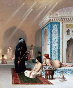 Жан-Леон Жером «Бассейн в гареме», 1876 Картина была приобретена Александром III. В 2001 году неизвестный вырезал полотно из рамы и вынес его прямо из зала. В 2009 году оно было возвращено Эрмитажу, но вора до сих пор не нашли