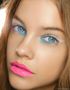 Blue and white eyeshadow with hot pink lips