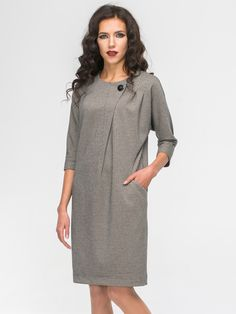 Plaid Buttons Sleeves Above Knee Shift Dress Simple Dresses, Casual Dresses, Fashion Dresses, Mode Hijab, Linen Dresses, Work Attire, I Dress, Dress Patterns, Blouse Designs