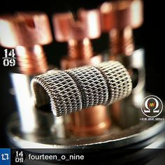 Talk about a coil!  You may want to go follow my teammate @fourteen_o_nine he is an insane builder!!! So I guess I will have to do a 6 next?  Got to top that lol . And please go check out our team @sub_ohm_squad for some sick builders! #coilporn #coilsmith #coils #vapelyfe #vapeporn #cleanasfawk #cleancoils #cleanbuilds #coil #vape  #localvapeshop #squad_up #dayum #whatsunderyourtopcap #xtreme