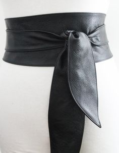 Black Belt, Black Leather Obi Belt tulip tie, Black Leather belt | Real Leather…