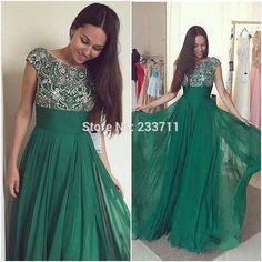 Charming Scoop A Line Chiffon Beaded Green Long Evening Dresses 2016 Robe De Soiree Abendkleider Zipper-Up Court Train 512282