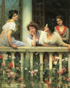 The balcony - by Eugene de Blaas