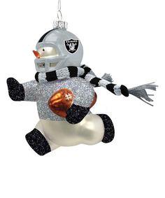 Oakland Raiders Heart handmade glass Christmas ornament ...