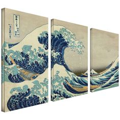 Canvas Prints Art Wall 3-Piece The Great Wave Off Kanagawa by Katsushika Hokusai Gallery Wrapped Canvas Artwork by CanvasChampUS on Etsy https://www.etsy.com/listing/183760770/canvas-prints-art-wall-3-piece-the-great