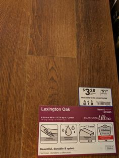 "Reno Paint Mart >> SmartCore Ultra Lexington Oak 5.91x48.03"" Plank (Lowes) $3.28 sq.ft. 