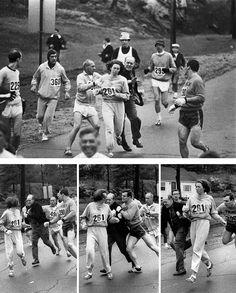 30-femmes-exceptionnelles-qui-ont-changé-le-monde : Kathrine Switzer, la première femme a courir le marathon de Boston en 1967. (des hommes essaient de l'en empêcher)
