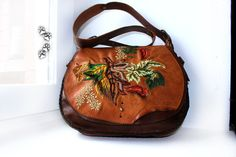 4lapki женская сумочка натуральная кожа вышивка ручная работа цвета осени / genuine leather embroidery shoulder bag handmade fall colors