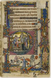 King Saul and Doec, the lady and the wildman Folio 58 (recto)The Macclesfield Psalter is a lavishly illuminated manuscript from the English region of East Anglia, written in Latin and produced around 1330.
