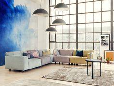 vesta hoekbank, elementen in pastel kleuren. By Furninova