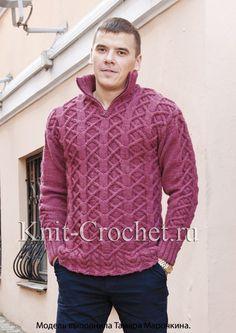 Пуловер мужской поло спицами.