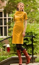 Dreamy mustard dress. Detailed empire waistline with over-sized fold-over collar. Study Breakonclick