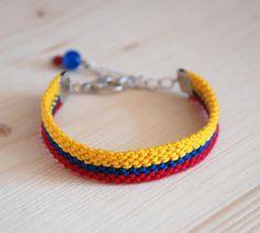 Colombian flag wayuu bracelet, Hawk's eye stone friendship bracelet, Yellow ethnic woven jewelry, Hi