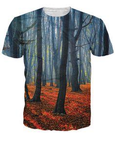 Mode kleding Betoverde Bos T-Shirt bomen gouden bladeren 3d print zomer stijl uitloper sport tops vrouwen/mannen korte mouw