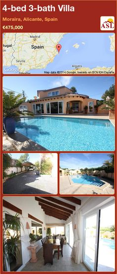 4-bed 3-bath Villa in Moraira, Alicante, Spain ►€475,000 #PropertyForSaleInSpain