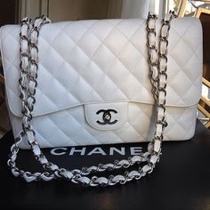 Chanel Quilted White Leather Handbag
