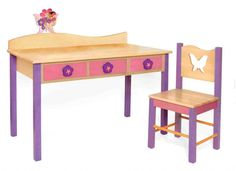 Kids Desk Chair Set Magic Garden Desk/chair Set, Natural Modern Kids Desks And Toddler Desk And Chair, Childrens Desk And Chair, Desk And Chair Set, Desk Set, Home Office, Cool Office Desk, Modern Kids Desks, Girl Desk, Child Desk