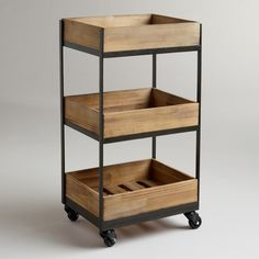 3-Shelf Wooden Gavin Rolling Cart | World Market - bathroom storage